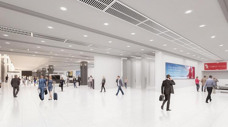 An artist's impression of Virgin Australia's new Terminal 3 arrivals hall at Melbourne Tullamarine. (Virgin Australia)