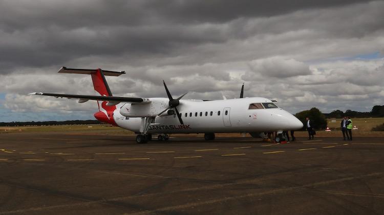QantasLink Dash 8 Q300 VH-TQY at Kingscote Airport, Kangaroo Island. (Ryan Hothersall)