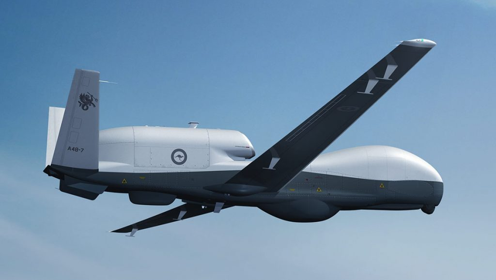 A file image of a Northrop Grumman MQ-4C Triton in Australian Defence Force colours. (Defence)