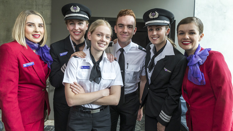 Virgin Australia pilot cadets and cabin crew at Flight Training Adelaide. (Virgin Australia)
