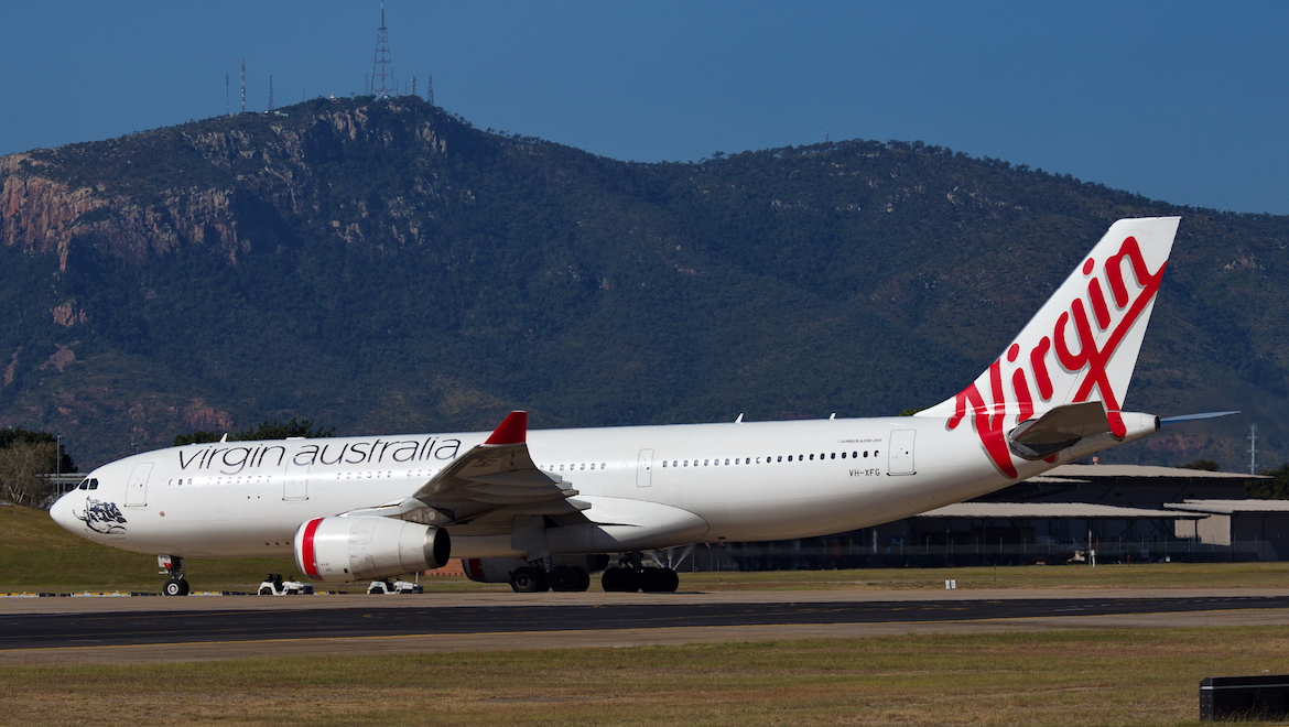 Virgin Australia Airbus A330-200 VH-XFG at Townsville Airport on May 6 2018. (Dave Parer)
