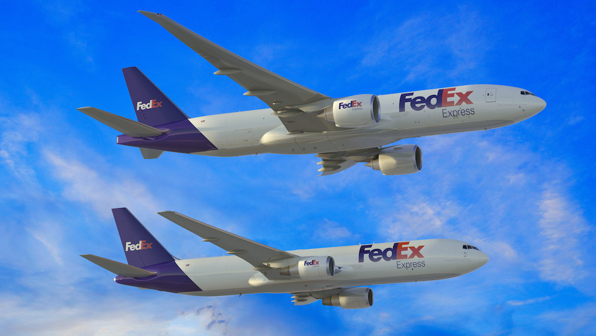An artist's impression of a Boeing 777F and 767-300F side by side. (Boeing)