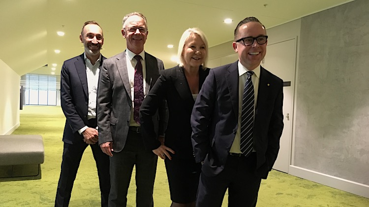 Alison Webster, third from left, alongside Jetstar group chief executive Gareth Evans, Qantas domestic chief executive Andrew David and Qantas chief executive Alan Joyce in June 2018.