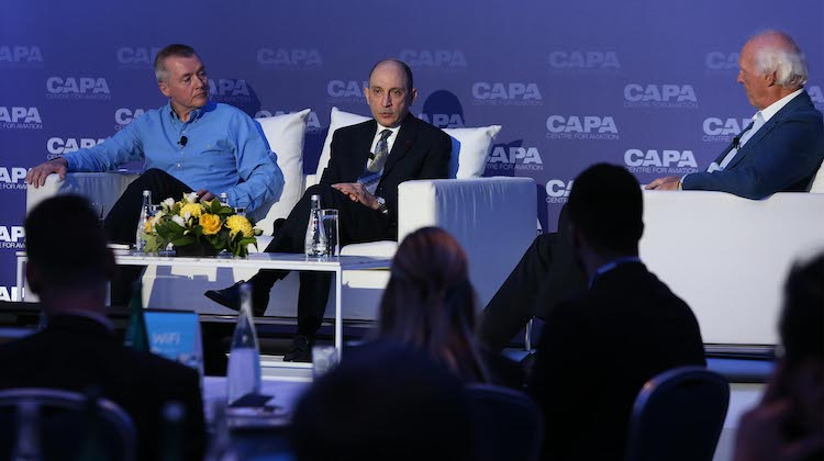 IAG chief executive Willie Walsh and Qatar Airways chief executive Akbar Al Baker at the CAPA – Centre for Aviation conference. (Qatar Airways)