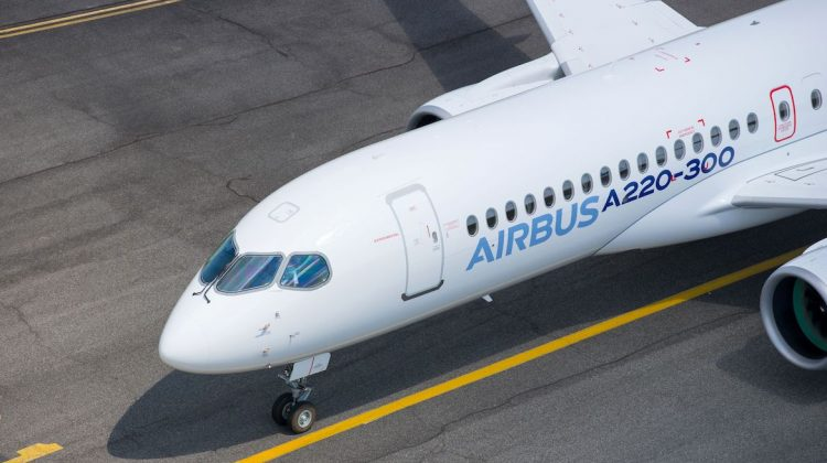 The Airbus A220-300 lands at Toulouse-Blagnac Airport. (Airbus)