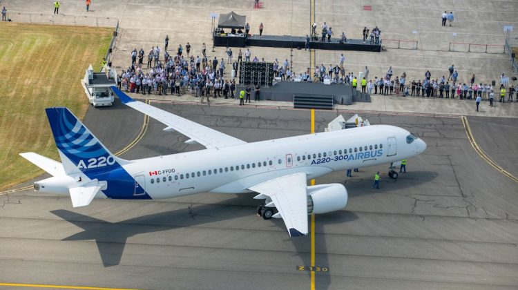 The Airbus A220-300 at Airbus's Toulouse headquarters. (Airbus)