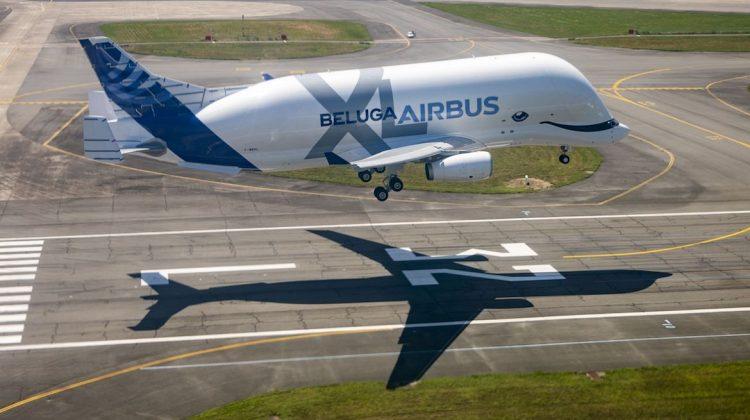 The BelugaXL landing. (Airbus)