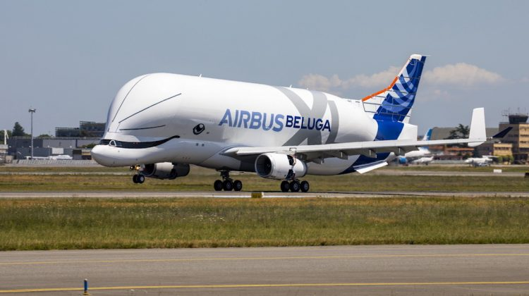 The BelugaXL landing after its first flight. (Airbus)