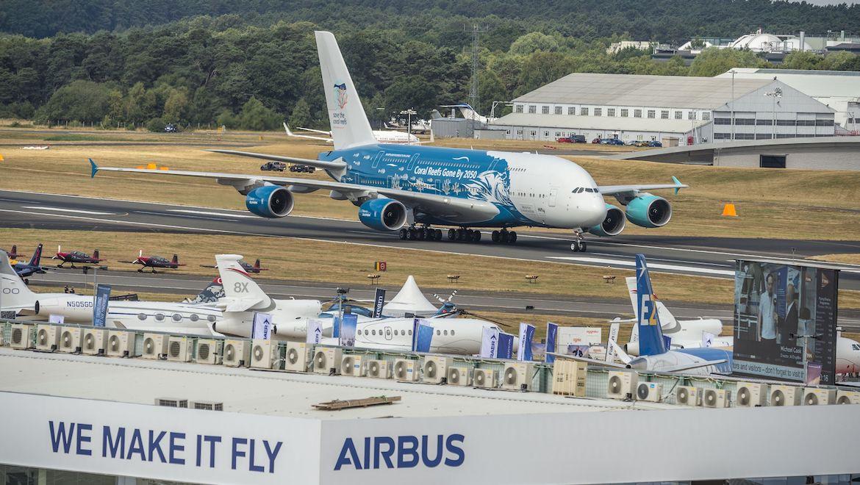 A HiFly Airbus A380 at Farnborough. (Airbus)