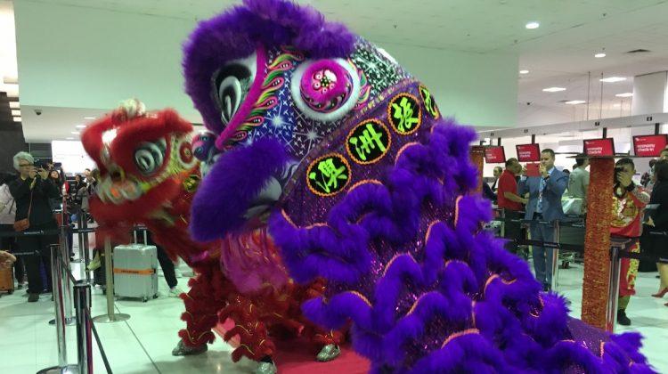 Lion dancers at Sydney Airport. (Australian Aviation)