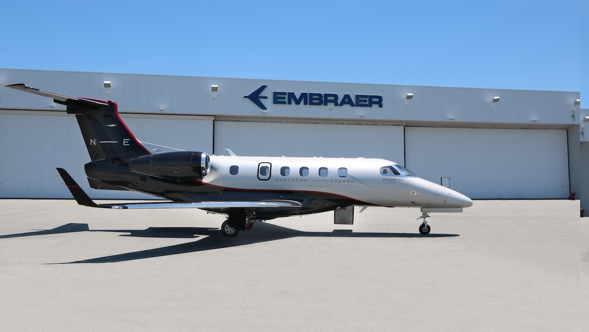 A supplied image of an Embraer Phenom 300E in Northern Escape Collection livery. (Embraer)