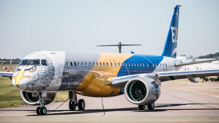 "The Embraer E190-E2 in one of two special ""Profit Hunter"" livery. (Embraer/Twitter)"