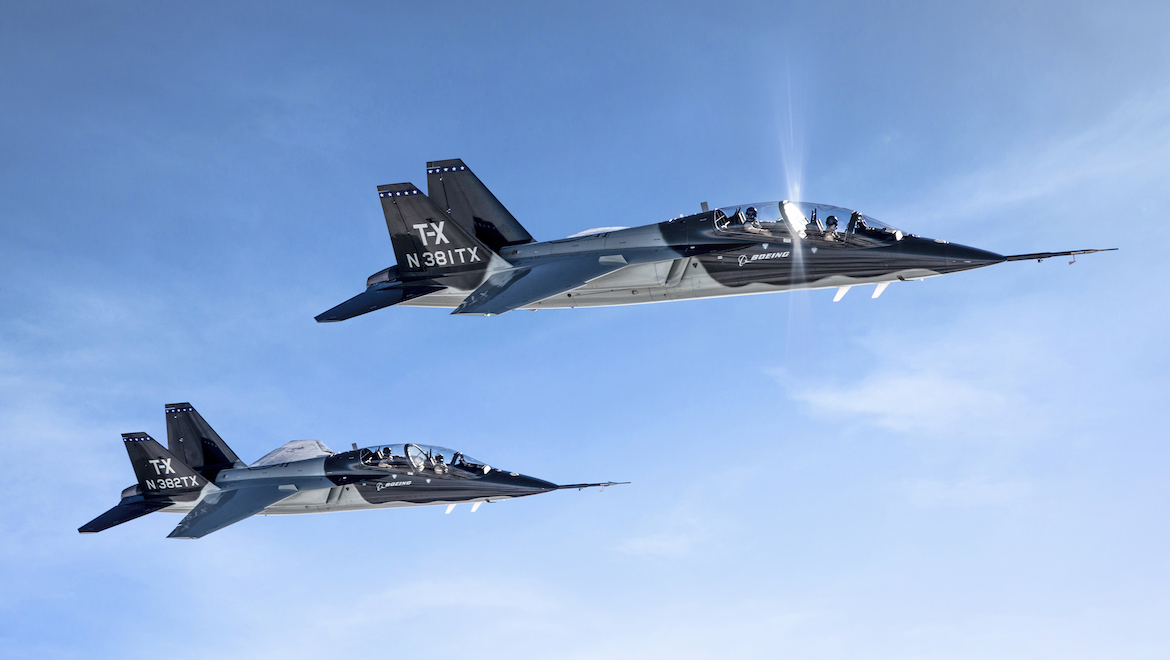 A supplied image of the T-X trainer aircraft. (John Parker/Boeing)