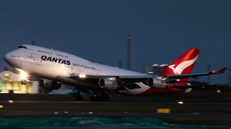 Qantas Boeing 747-400 VH-OJT takes off from Brisbane Airport. (James Baxter/Qantas)