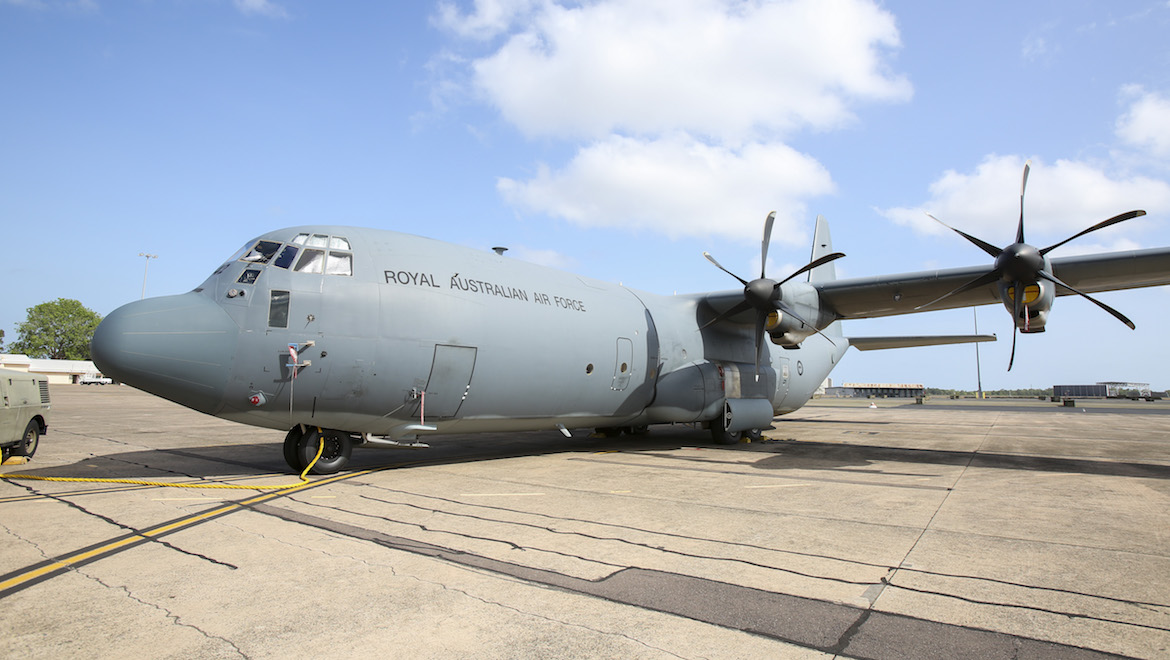 A Royal Australian Air Force C-130J Hercules aircraft on the tarmac at RAAF Base Darwin prior to flying to Indonesia to deliver humanitarian aid. (Defence)