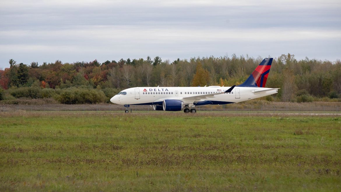 Delta Air Lines first Airbus A220-100 at Mirabel. (Airbus)