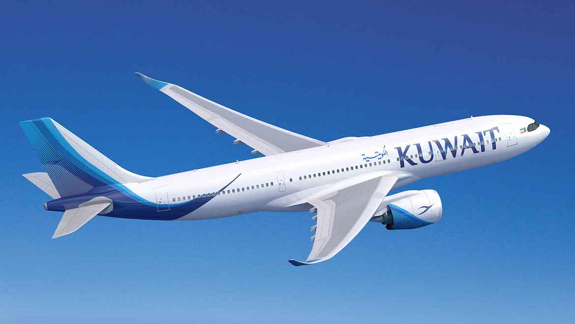 An artist's impression of an Airbus A330-800 in Kuwait Airways livery. (Airbus)