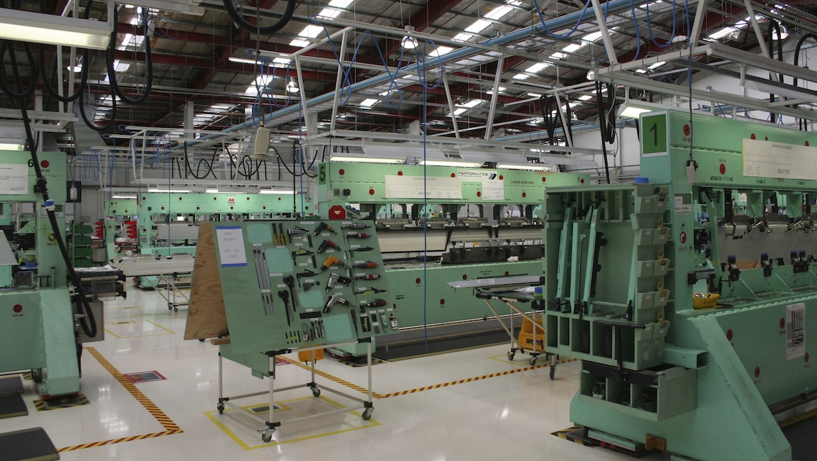 Inside Boeing Aerostructures Australia's Fishermans Bend facility. (Tony Moclair)