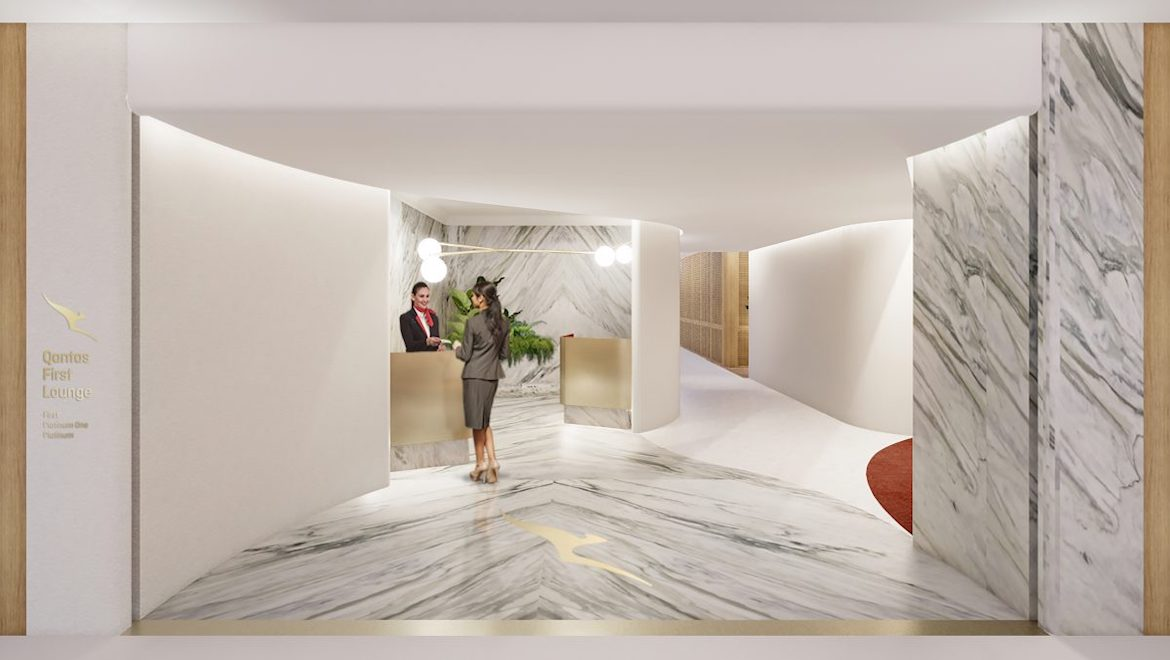 An artist's impression of the Qantas First Lounge entrance at Singapore Changi Airport. (Qantas)