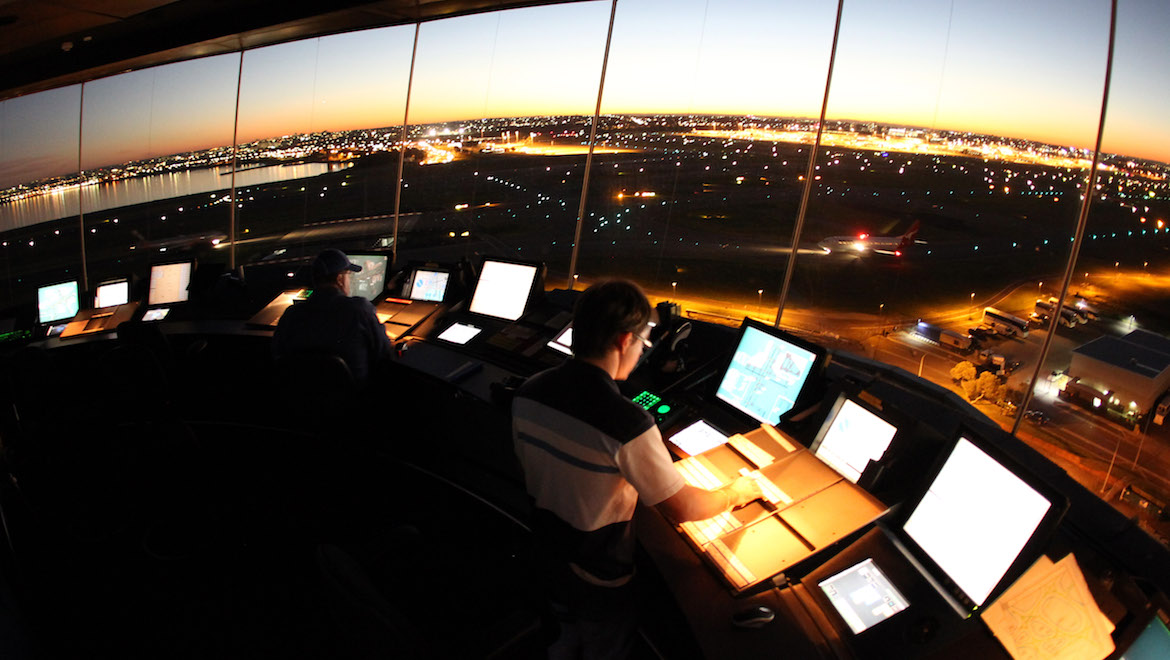 A file image of the Sydney Airport air traffic control tower. (Airservices)