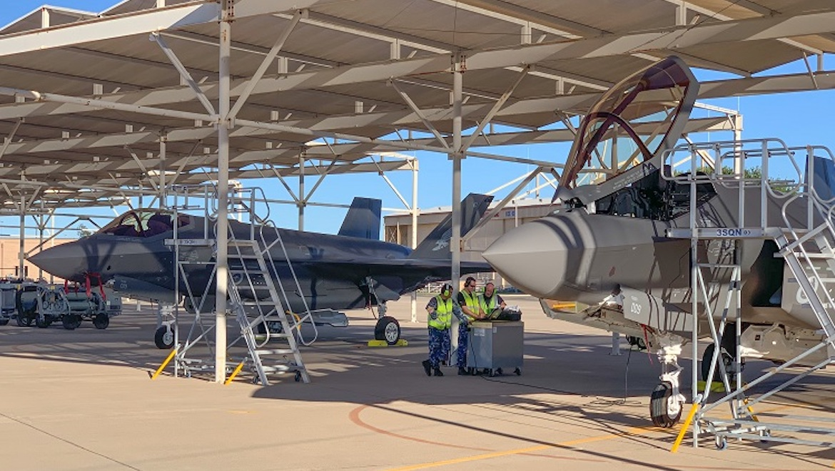 The Royal Australian Air Force's 10th F-35A, serial A35-010, next to A35-009, at Luke Air Force Base, Arizona. (Defence)