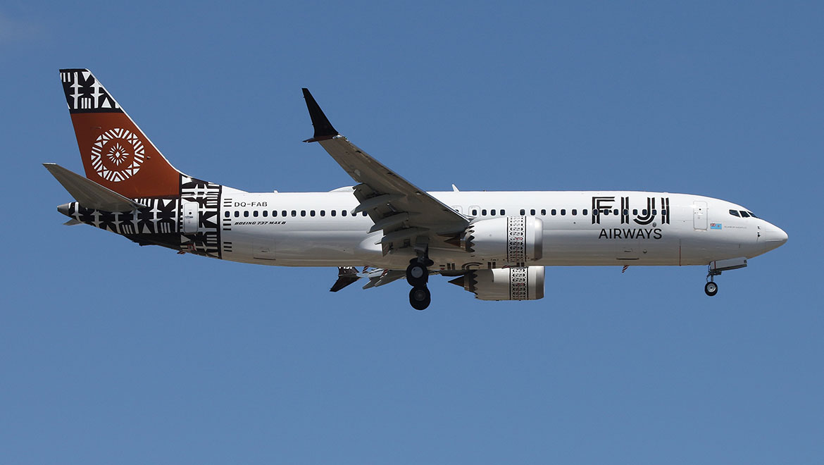 A file image of Fiji Airways' first 737 MAX 8 on approach to Adelaide. (Ryan Hothersall)