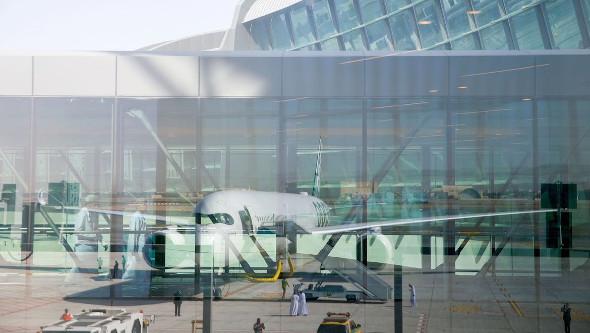 The Airbus A350-1000 at Muscat Airport. (Airbus)