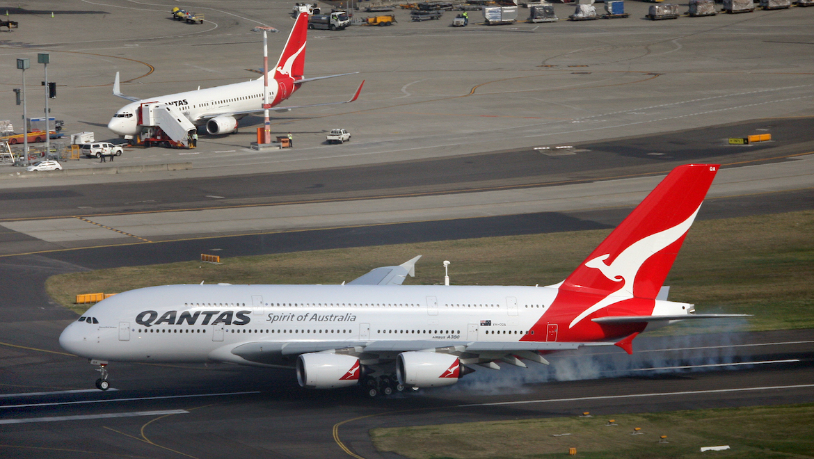 The first Qantas A380 touches down at Sydney at the end of its delivery flight from Toulouse on September 21 2008. (Paul Sadler)