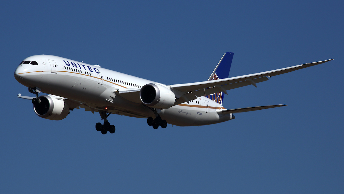 A file image of a United Boeing 787-9 at Melbourne Airport. (Rob Finlayson)