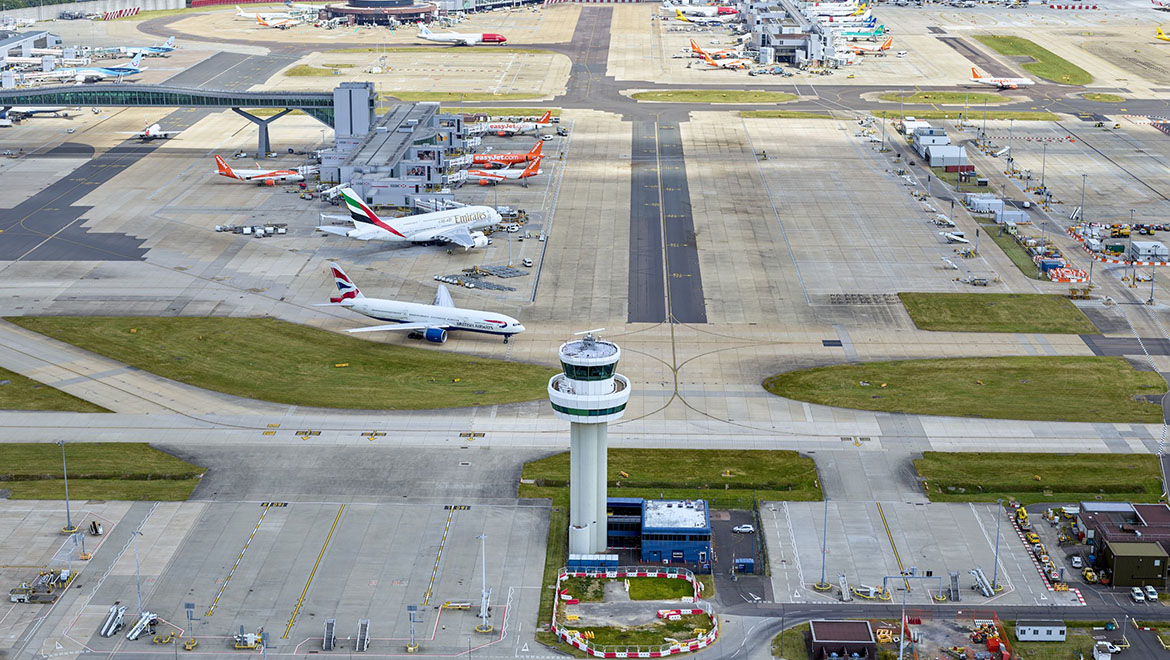Gatwick Airport experienced severe disruptions in December due to suspected drones in the restricted airspace. (Gatwick Airport)