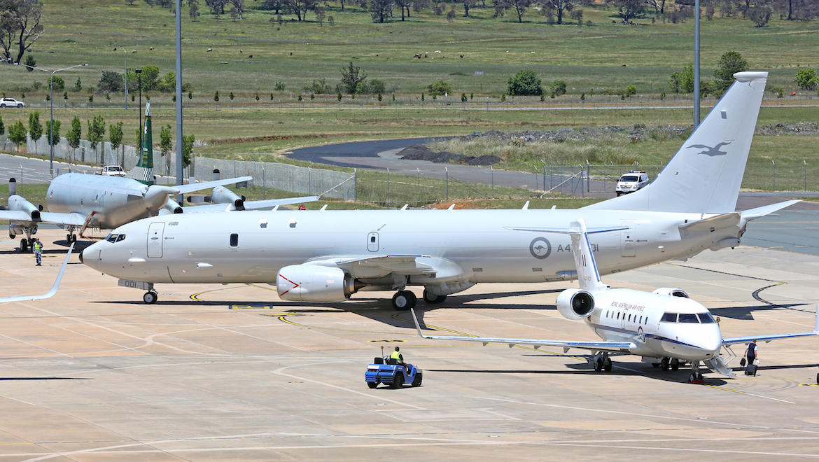 A47-001 taxis into Canberra's Fairbairn Defence Establishment for a delivery ceremony featuring Prime Minister Malcolm Turnbull. (Paul Sadler)