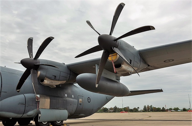 RAAF C-130J Hercules A97-440 fitted with external fuel tanks. (DEFENCE)