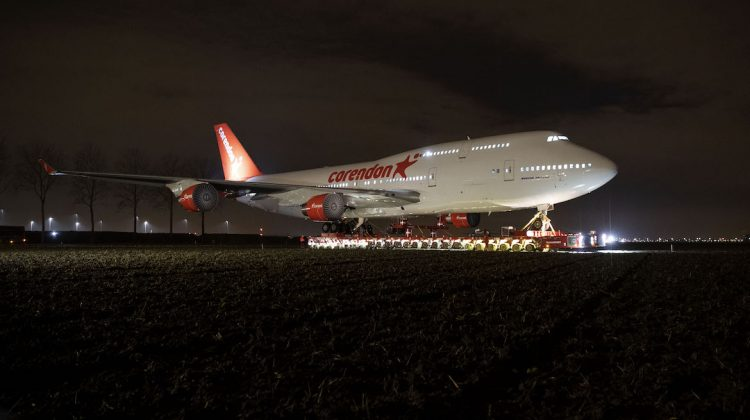 The former KLM Boeing 747-400 being transported to the Corendon Village Hotel. (Corendon Hotels)