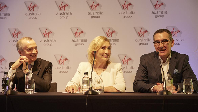 Virgin Australia's John Borghetti, Elizabeth Bryan and Paul Scurrah. (Virgin Australia)