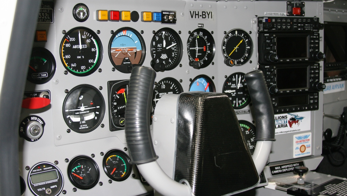 The flight test GA8 had an analogue instrument panel with an impressive digital avionics stack of Garmin equipment and moving maps. (GippsAero)