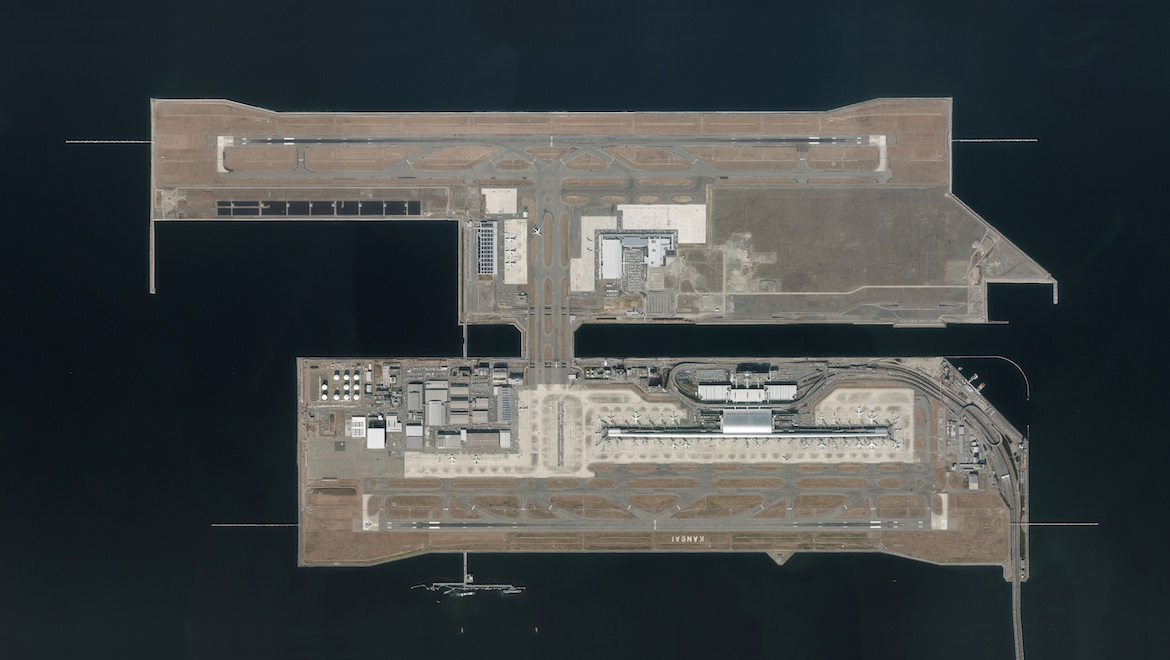 Kansai's first island, with its signature Renzo Piano terminal and shorter runway, and second island were built in separate phases. (Kansai Airports)