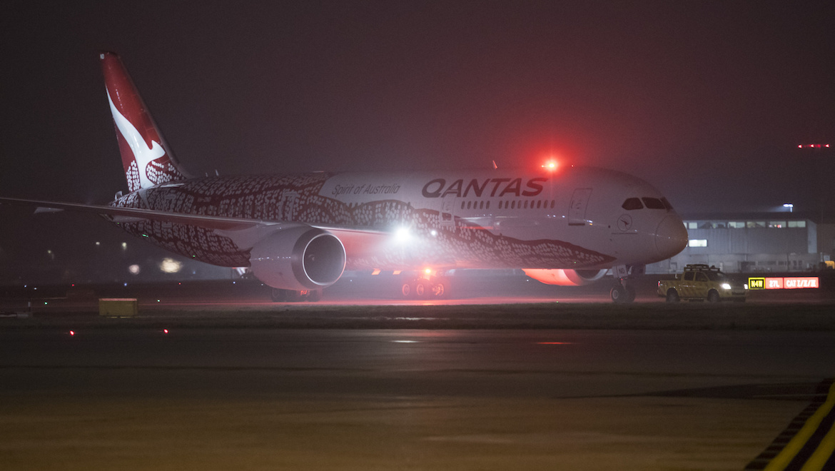 Qantas Boeing 787-9 VH-ZND, operating the inaugural QF9 from Perth, taxis to the gate at London Heathrow. (Qantas)