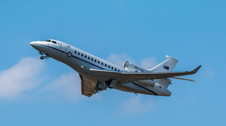The first Dassault Falcon 7X in Royal Australian Air Force livery. (Julien Chierici)