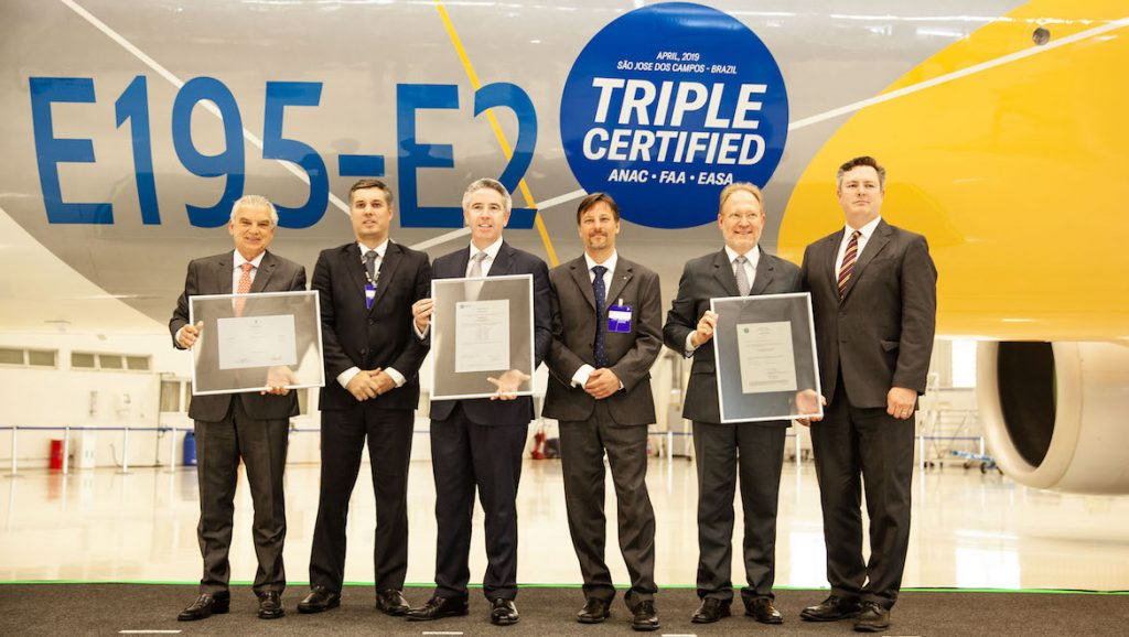 The trio of type certificates for the Embraer E195-E2. (Embraer)