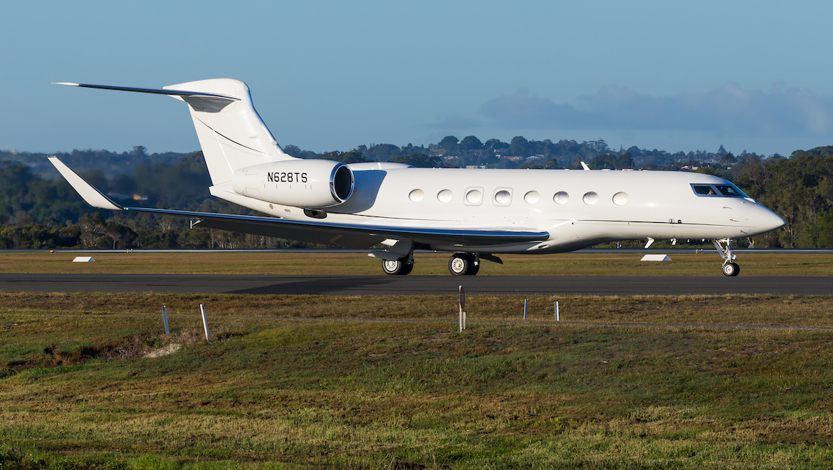 A 2017 image of a Gulfstream G650ER at Gold Coast Airport. (Lance Broad)
