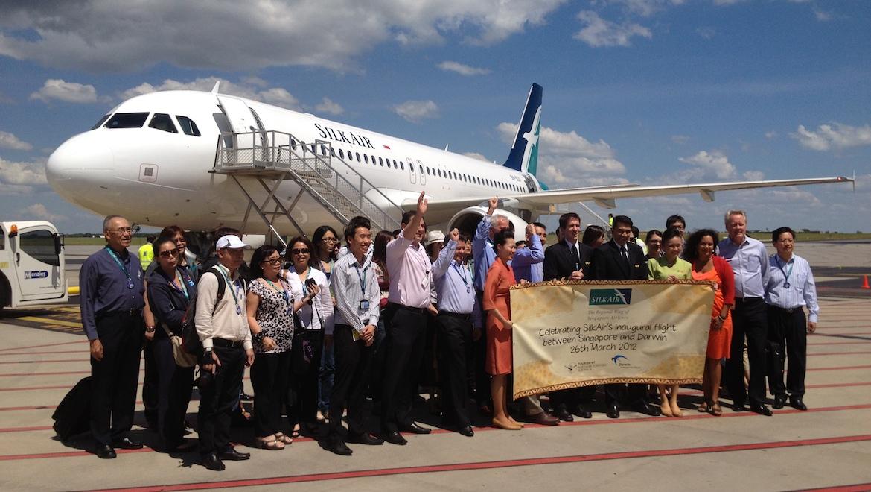 SilkAir celebrates the start of flights to Darwin in 2012.