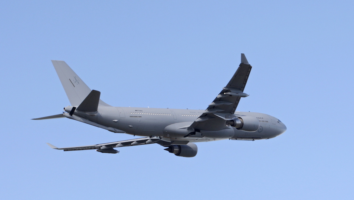 The KC-30A makes its first flight into RAAF Base Amberley in May 2011. (Defence)