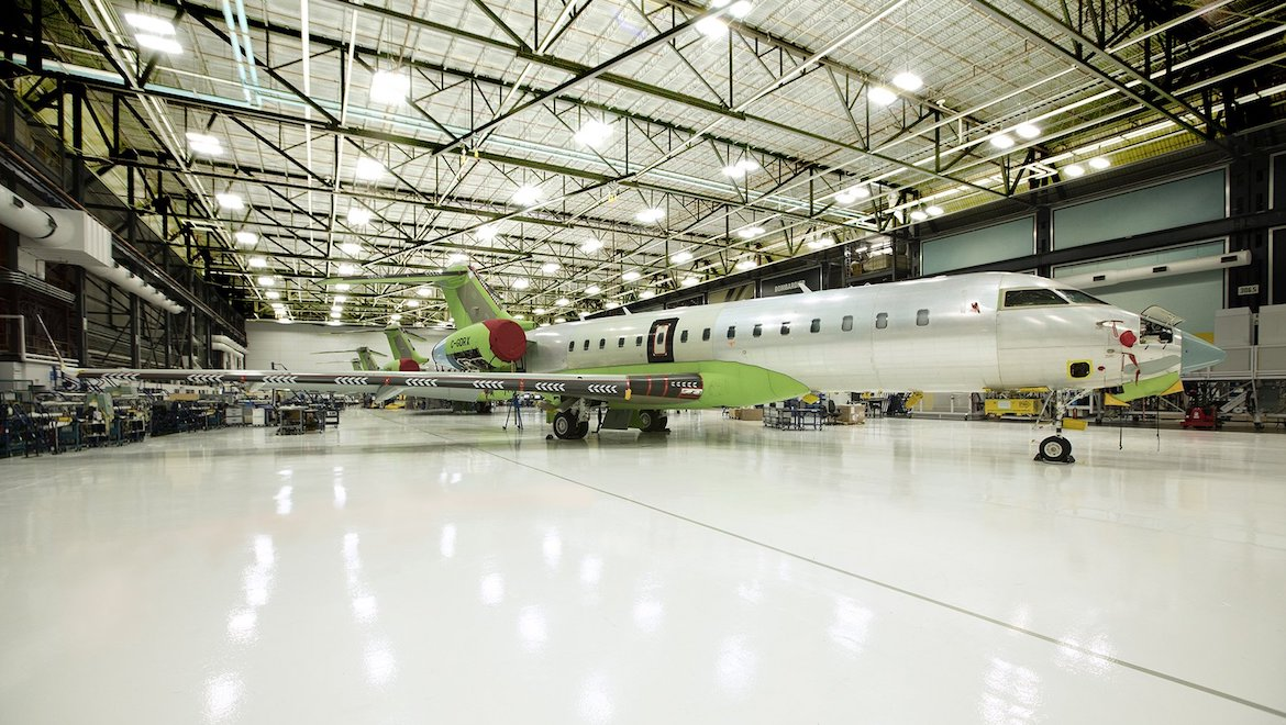 The first Bombardier Global 6500 enters the completion centre in Montreal. (Bombardier/Twitter)