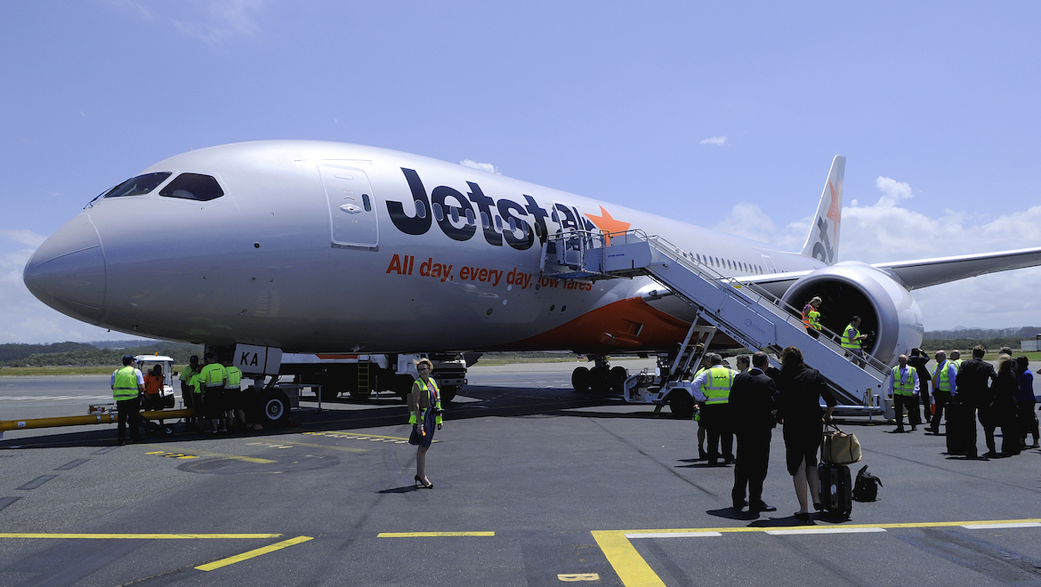 A file image of Jetstar Boeing 787-8 VH-VKA at Gold Coast Airport.