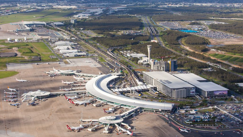 An aerial look at Brisbane Airport's domestic and international terminals. (Brisbane Airport)