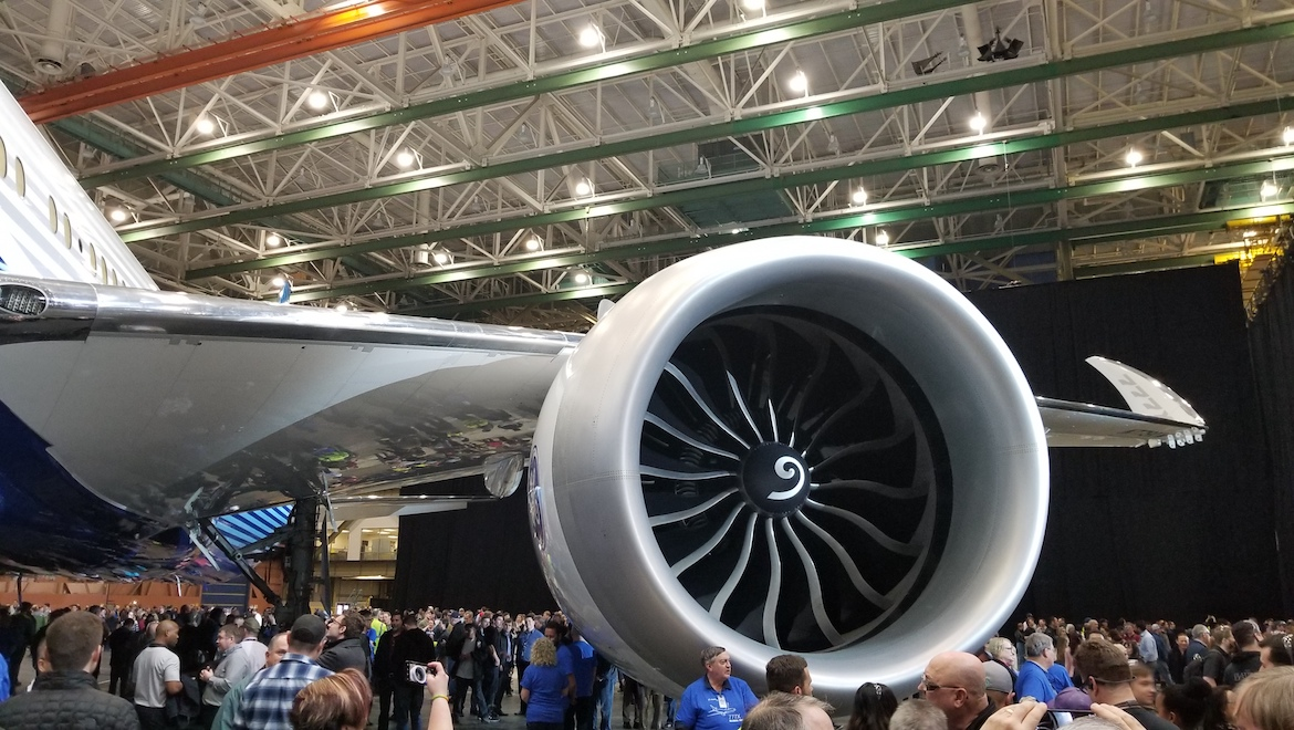 A file image of the GE Aviation GE9X engine at the staff-only roll-out event for the first Boeing 777-9X in March 2019. (Wikimedia Commons/Dan Nevill)