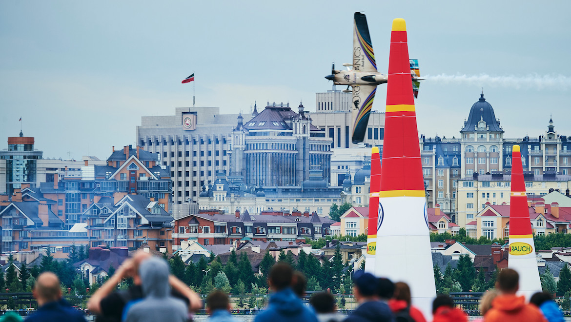 Matt Hall of Australia performs during the finals at the second round of the Red Bull Air Race World Championship at Kazan, Russia on June 16, 2019. (Red Bull Content Pool)