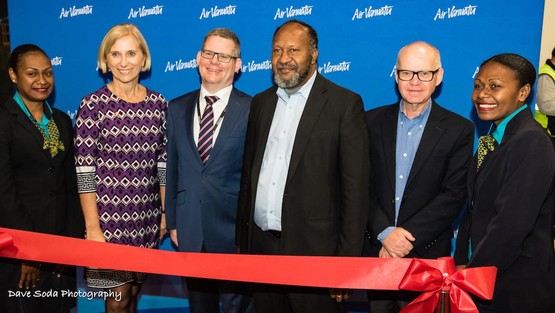Air Vanuatu and Melbourne Airport celebrate the start of nonstop Melbourne-Port Vila flights. (Dave Soda)