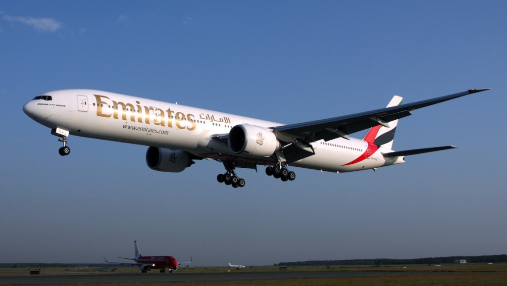 An Emirates Boeing 777-300ER at Brisbane Airport. (Rob Finlayson)
