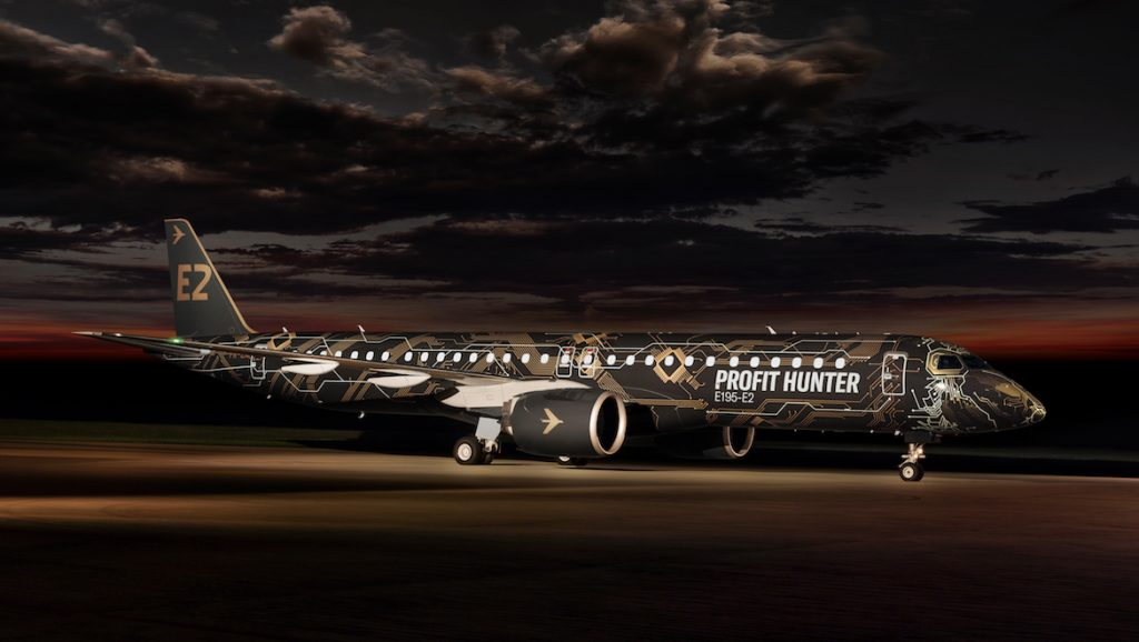 A supplied image of an Embraer E195-E2 painted in